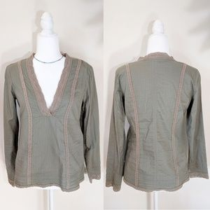Free People Olive Green V Neck Long Sleeve Top
